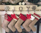 Christmas Stockings for Family - Red Accent Cuffs - Set of Five (5)