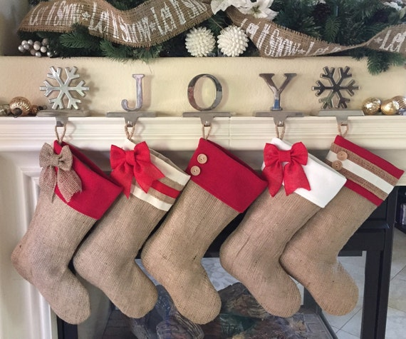 Burlap Christmas Stockings with Red Accent Cuffs - Set of Five (5)