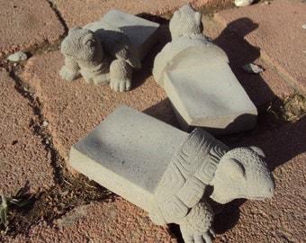 Turtle Planter Pot Feet,  Planter Stand, Set Of Three,  Nice Size Stone