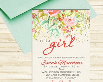 Boho Coral Gold Mint Flower Girl Baby Shower Invitation Watercolor Floral Invite