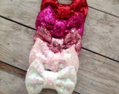 Valentines Day Sequin Sparkles Bow Nylon Baby Headband Newborn Headbands Photography Props Baby Girl Headband Headband Sets Girls Hair Clips