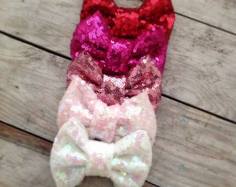 Valentines Day Sequin Sparkles Bow Nylon Baby Headband Newborn Headbands Photography Props Baby Girl Headband Headband Sets Girls Hair Clips