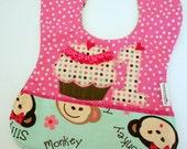 FREE USA Shipping, Appliqued Monkey Bib, Girls 1st birthday, Monkey 1st Birthday Party, Appliqued Birthday Bib, Babys 1st Birthday Bib