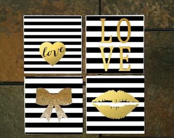 Black & White Stripe w Gold embellishment Coaster Set