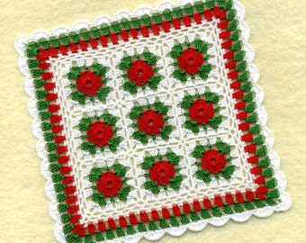 Dollhouse Miniature Christmas Afghan Bedspread Cover Throw Red, Green and White