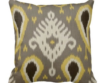 dwell studio pillow, ikat pillows, 12 inch pillows, 12x12 inch pillows, throw pillows, grey pillows, pillows for couch, grey yellow pillows