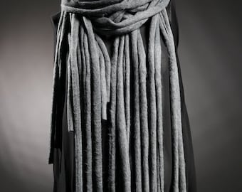 Fringe scarf, necklace scarf, fashion scarf, Chunky scarf, fringe shawl, gray scarf, black scarf , oversize scarf, fashion shawl