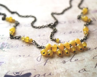 Boho style necklace. Antique brass pendant with yellow gemstone. Ready to ship. Gypsy necklace. mustard necklace, yellow jade