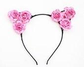 Cute black ribbon wrapped pink flower cat ears headband Kawaii