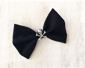 Black hair bow with Skull and Crossbone Rockabilly Pin up