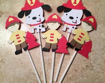 Firetruck Cupcake Toppers/Fireman's Theme Party/Dalmatian Theme Party