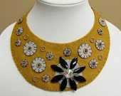 Statement Necklace Wool Felt OOAK- Beaded-Embroidered Handmade