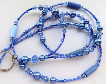 BLUE BEAUTY- Beaded ID Lanyard- Cat's Eye Beads, Glass Pearls, Sparkling Crystals, & Tibetan Silver Accents (Magnetic Clasp)