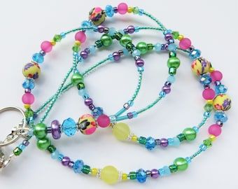 SUMMER BEAUTY- Beaded ID Lanyard Badge Holder- Polymer Clay, Lucite Beads, and Sparkling Crystals- (Magnetic Clasp)