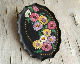 Vintage toleware flowers brooch hand painted