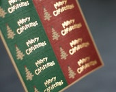 Vintage Merry Christmas Stickers - Red and Green Christmas Stickers - 4.5cm x 1.9cm  Rectangle Sticker Seals - 50 seals