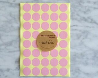 Pastel Pink Circle Stickers - 2cm Round Seal Sticker - 120 Pastel Pink Circle Stickers