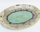 ceramic serving platter; ceramics and pottery dish; hand carved pottery; ceramic art