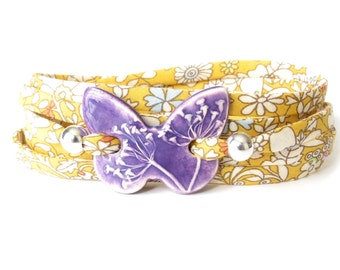 Sunflower yellow purple statement bracelet with clay butterfly, popular gift for goddaughter, Liberty fabric bracelet with character