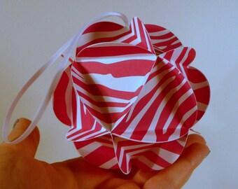3d Paper ball, DIY KIT, Bright Pink party decor, globe ornament, origami ornament, DIY papercraft kit