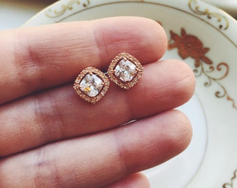 Rose Gold Studs Crystal Post earrings Bridal Earrings - Wedding Jewelry - Bridesmaid Gift
