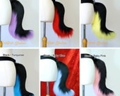Small Wolf Fursuit Cosplay Tail - Black and White or with Rainbow - Great for Costumes kitty cat neko festival