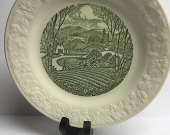 Homer Laughlin Pastoral Pattern Green 7 inch Salad Plate 1955