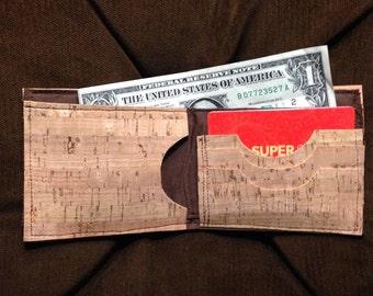 Cork Wallet Men's Bi Fold  - Natural Color- SOLD