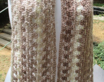 """Crocheted Scarf - Cappuccino Tan Brown - Soft & Lacy - 6"""" X 55"""" - Boutique Acrylic Yarn - Neck Warmer"""