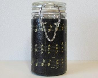 Small Glass Stash Jar : Latch Top Jar - Sheet Music Notes Black Gold
