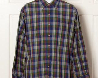 90s Men's Button Down Shirt - ARROW - dark colors light weight - L