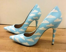 Blue sky and clouds, high heel wedding shoes - unique Hand painted size UK 7 US 9.5