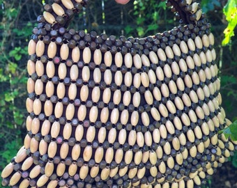 """Wood Bead Purse """"Suzanne"""" brand Made in Czechoslovakia Small size 7.5"""" high including handle RARE"""