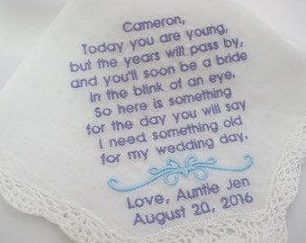 Flower Girl Embroidered Wedding Handkerchief