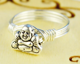 Sale! Buddha Ring-Sterling Silver, Yellow or Rose Gold Filled Wire Wrapped/Pewter Bead- Any Size 4 5 6 7 8 9 10 11 12 13 14 1/4 1/2 3/4