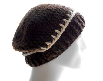 Upcycled Brown Hat, Merino Alpaca Beanie, Men's Crochet Hat, Women's Beanie Hat, Extra Large Size