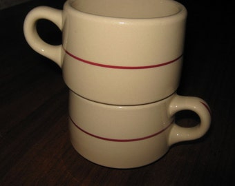 Two Tan with Burgundy Stripe Shenango Rimrol Welroc Coffee Cups