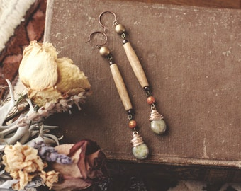 Earthy Bone Bead & Teardrop Earrings