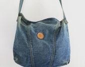 Vintage 80's Jordache Denim Bag / Stonewash Jean Shoulder Purse