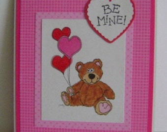 Be Mine Bear With Balloons Valentine note card