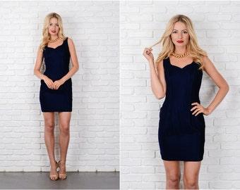 Midnight Blue Velvet Mini Dress Vintage 80s Sleeveless XS 8105