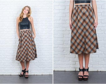 Vintage 70s Brown Mod Retro Skirt High Waist Plaid Striped A Line Wool XS 6369 vintage skirt brown skirt 70s skirt mod skirt plaid skirt