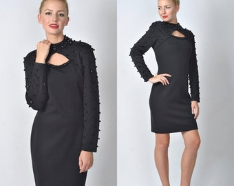 ON SALE Vintage 80s Black Mini Dress Retro Studded Beaded Cutout Glam wool party Small S 1099