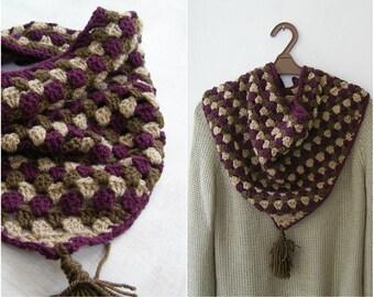 Crochet Triangle Bib Scarf, Handknit Granny Scarf Knit, Outlander Tassel Shawl , Brown Purple Neckwarmer, Winter Woman Knitted Bandana Cowl