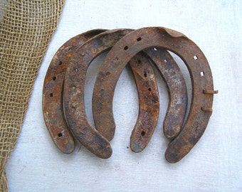 Vintage Rusty Iron Horseshoes, Farmhouse Good Luck Charm Wall Hanging Rustic Farm Barn Decor, Western Bar Decor, Man Cave Gift Wedding Decor