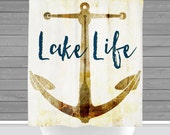 Lake Shower Curtain: Anchored at the Lake. Lake Life. | 12 Eyelet/Button Hole | Size and Pricing via Dropdown