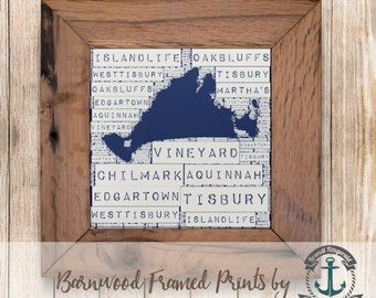 Martha's Vineyard Towns, White & Navy Blue - Framed in Reclaimed Barnwood Beach House Decor - Handmade and Ready to Hang