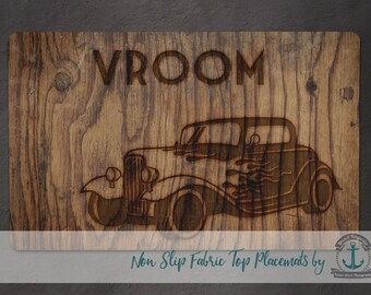 Placemat - Hot Rod | Vintage Car Wood Grain Mancave Decor | Anti Skid/Non Slip Fabric Top Rubber Backed Awesomeness