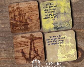 Coaster Set | Nautical   | Tall Ships Anchor Quote Mariner Nautical Style | Set of 4 Cork Back | Options at Checkout