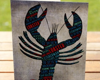 Lobster Greeting Card | Rockport History Typography | A7 5x7 Folded - Blank Inside - Wholesale Available
